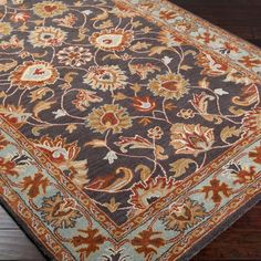Our Living room rug...spa blue, rust, gray-brown and beige. Love it!