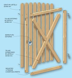 Canello design in wood- disegno canello in legno Canello design in wood - Diy Fence, Backyard Fences, Backyard Projects, Wooden Garden Gate, Garden Gates And Fencing, Fence Gate Design, Privacy Fence Designs, Old Gates, Inside Barn Doors