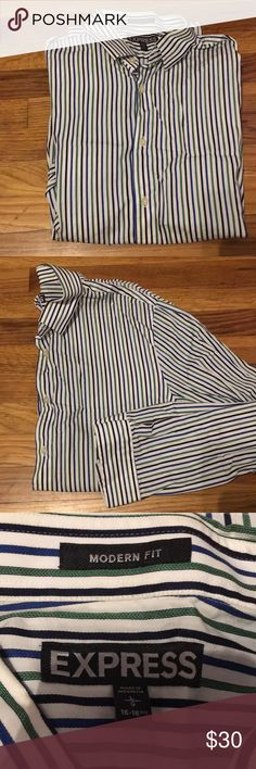 "Men's Dress Shirt Green, blue and black striped long sleeved dress shirt from Express. ""Modern Fit"" so it's cut slim. Washed and never worn - it does need to be pressed. Express Shirts Dress Shirts"