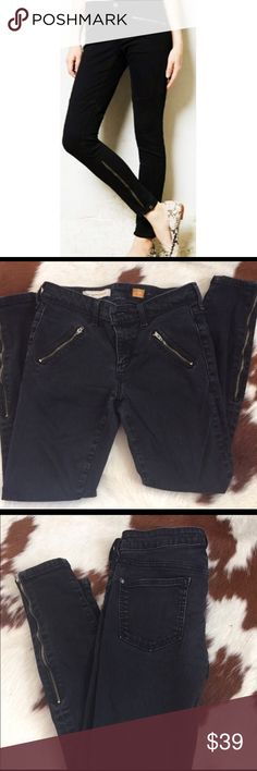 Pilcro & the Letter Press Black Moto jeans Inseam 27 inches. Rise 9 inches Anthropologie Jeans Skinny