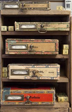 The pulls and plates on this one are lovely. Altered Cigar Boxes, Altered Tins, Altered Art, Cigar Box Projects, Cigar Box Crafts, Cigarette Box Crafts, Shadow Box, Cigar Box Art, Vintage Cigar Box