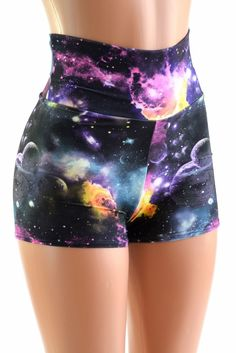 Waist Space Shorts These adorable high waist shorts have four way stretch for a great fit, and a boy cut leg. They are made of lycra spandex, in a gorgeous UV Glow galaxy print. Rave Outfits, Cool Outfits, Fashion Outfits, Fashion Goth, Galaxy Outfit, Galaxy Shorts, Jupe Short, Galaxy Fashion, Rave Festival