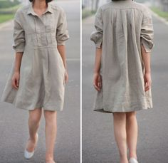 Pleated Linen  Shirt Dress/ 19 Colors/ ANY SIZE. $69.00, via Etsy.