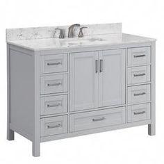 Scott Living Durham Light Gray Single Sink Bathroom Vanity With White Engineered Stone Top Grey Bathrooms, Modern Bathroom, Minimalist Bathroom, Bathroom Vanity Designs, Bathroom Ideas, Bathroom Styling, Single Sink Bathroom Vanity, Mirror Bathroom, Remodel Bathroom