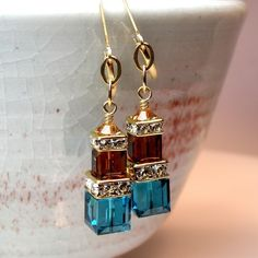 Teal and Chocolate Earrings on Luvocracy. Last day for free shipping!