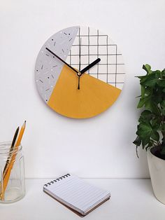 Hand painted wall clock mustard yellow grey and white Living Room Grey, Living Room Decor, Living Rooms, Living Spaces, Bedroom Decor, Yellow Room Decor, Yellow Rooms, Dressing Room Design, Small Room Design