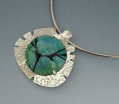 Kati Andara  ||  pendant,sterling silver,stamped back plate,tab set torch fired enamel,stencil.  ||  Uploaded work on pinterest: http://www.pinterest.com/giselakati/my-work-2006-2009-jewelry-metalsmithing-class-at-m/