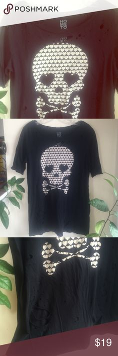 Urban Outfitters Holey Destroyed Skull Shirt Super soft shirt with holes on the front. Hometown Heroes from Urban Outfitters. Hardly ever worn. Urban Outfitters Tops Tees - Short Sleeve