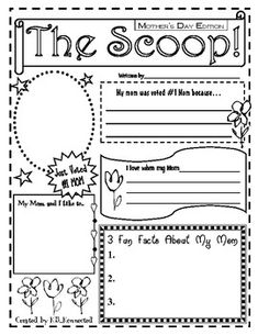 Celebrate Mother's's day with this fun one page newspaper. Students can personalize it for their mom.