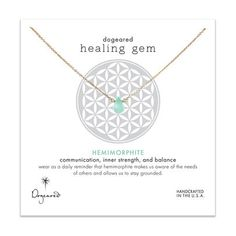 healing gem hemimorphite necklace, gold dipped, 16 inch - Dogeared