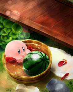 Aw. Kirby loves his watermelons!!! Looks like it was a hot day.
