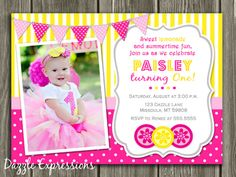 Printable Pink Lemonade Birthday Photo Invitation | Lemonade Stand | First Birthday | Girl Summer Birthday Party Idea | FREE thank you card included | www.dazzleexpressions.com