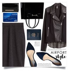 """Jet Set: Airport Style"" by dolly-valkyrie ❤ liked on Polyvore featuring H&M, Jimmy Choo, Cole Haan, Royce Leather and airportstyle"