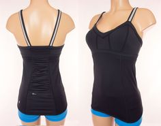 LULULEMON Cycle Tank Size 6 S Small Black Gray Reflective Stripe Bike Top #Lululemon #ShirtsTops