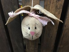 Bunny rabbit head ornament by CozyExpressions on Etsy