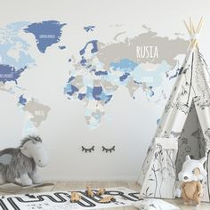 Habitaciones para niños con mapamundi en las paredes. Baby Boy Rooms, Baby Bedroom, Kids Bedroom, Map Design, Playroom, Room Decor, Nursery, Wallpaper, Hibiscus