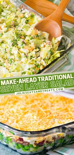 Seven Layer Salad is a must on your dinner menu! Not only can this traditional recipe be made ahead, but you can also adjust it to your tastes. Loaded with vegetables, bacon, cheese, and a 2-ingredient dressing, this easy Thanksgiving side dish is always a favorite! Traditional Thanksgiving Sides, Easy Thanksgiving Sides, Thanksgiving 2020, Savory Salads, Healthy Salad Recipes, Healthy Eats, Appetizer Recipes, Appetizers, Party Side Dishes