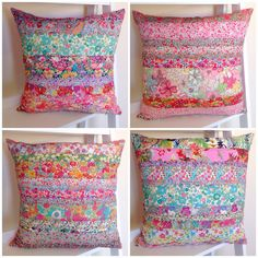 "Liberty of London Print Cushions 16"" square, 100% Linen backed Handmade in Australia Rhapsody and Thread via Etsy @rhapsodyandthread"