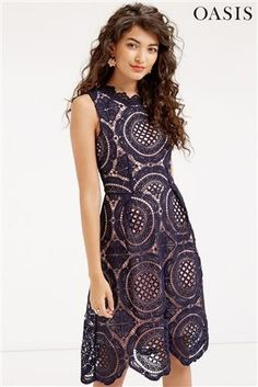 Buy Oasis Navy Chartreuse Lace Dress from the Next UK online shop Next Uk, Uk Online, Oasis, Lace Dress, Bridesmaid Dresses, High Neck Dress, Navy, Wedding, Outfits