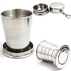 Mini Stainless Steel Cup Portable Travel Folding Collapsible Cup Telescopic Wine Drinking Glasses for Home Kitchen Bar