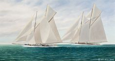 """The painting """"SUSANNE & WESTWARD"""" by New Zealand artist Jim Bolland. This painting is a re-creation of a critical moment during a race sailed on the waters of the English Channel during the summer of 1910."""