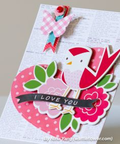 nina yang birdie I love you card closeup