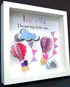 Personalized Name Baby Gift Paper Origami Shadowbox Frame with Hot Air Balloons and Clouds Custom Newborn Baby Shower Gift
