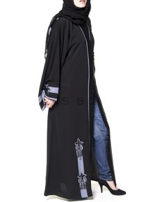 Black Abaya with Blue Embroidery