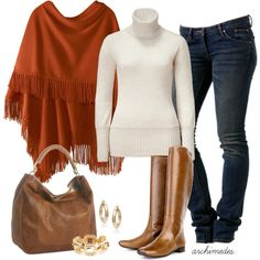 Jeans Outfit (Cream + Rust + Brown)