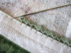 clear tutorial for crochet edging.  I like her idea to put markings on cardboard so I don't have to use a ruler every time.