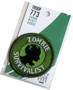 Zombie Survivalist - Modern Merit Badge - Iron On Patch. $6.00, via Etsy.
