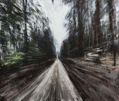 """""""Biking In White Woods"""" 2015, oil on panel - Valerio D'Ospina"""