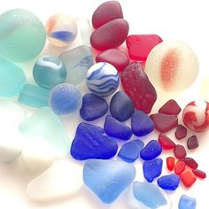 Shades of 4th of July weekend #seaglass ❤️