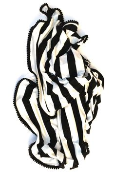 Baby Swaddle Blanket Black and White Striped by CharleyCharlesShop