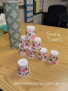 Sound towers... write on the bottom of each cup a word that contains a target sound and build as you practice!  Towers can be stored in empty Pringles can covered with pretty paper. 30-40 words can fit in a can.