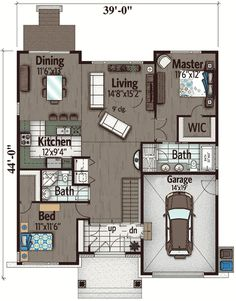 Two Bedroom Northwest House Plan - 90280PD floor plan - Main Level