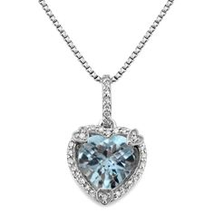 Aquamarine and Genuine Diamond Birthstone Heart Pendant in Sterling Silver  Item # PE11CG  $129.00