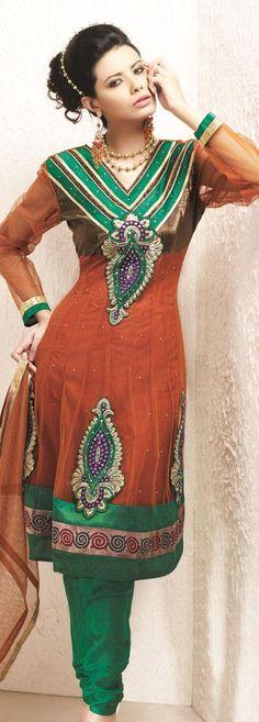 $63.70 Orange Full Sleeve Net Knee Length Designer Salwar Kameez 19680