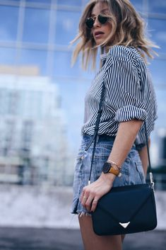 leather cross body bag, striped shirt, denim shorts, summer street style  | The August Diaries