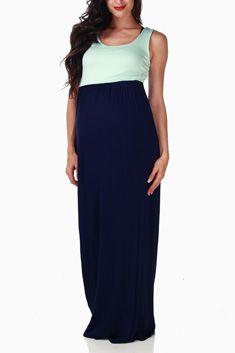 Navy Blue Mint Green Colorblock Maternity Maxi Dress