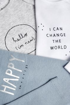 Buy Grey/White Slogan Long Sleeved Bodysuits Three Pack from the Next UK online shop Cute Baby Quotes, Baby Sayings, Raw Clothing, Kids Graphics, Gender Neutral Baby Clothes, Baby Vest, Slogan Tee, Long Sleeve Bodysuit, Baby Prints
