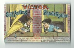 Old Trade Card Victor Window Shade Roller Saginaw Manufacture Co MI Women Mishap