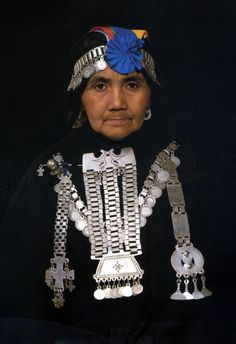 """""""The most beautiful and costly pieces of Araucanian jewellery are traditionally worn on the head and chest"""" 