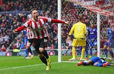 Connor Wickham of Sunderland celebrates scoring the opening goal during the Barclays Premier League match between Sunderland and Cardiff Cit...