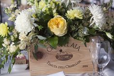 wine boxes used for centerpieces