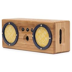BONGO Wood Bluetooth Speakers   Retro Handcrafted Bamboo   Portable Wireless Speaker for Travel, Home, Shower, Beach, Kitchen, Outdoors   Loud Bass with Dual Passive Woofers   Vintage Blue & Yellow Review Satellite Speakers, Bluetooth Speakers, Cool Bookshelves, Beach Kitchens, Bookshelf Speakers, Blue Yellow, Bamboo, Retro, Wood