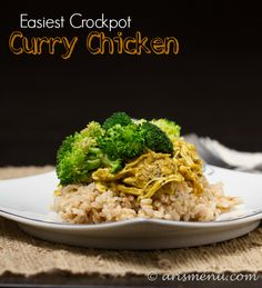 This Crockpot Curry Chicken couldn't be easier with just 2 ingredients and NO prep time! Have a healthy, delicious dinner on the table with next to no effort!