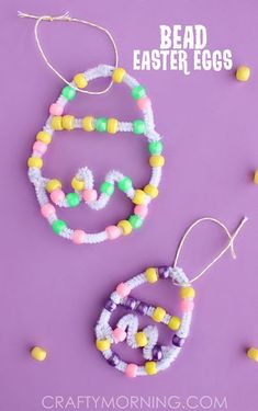 Pipe cleaner bead easter egg craft for kids - fine motor practice - # preschool Easter Arts And Crafts, Easter Crafts For Kids, Crafts Toddlers, Craft Kids, Bunny Crafts, Toddler Art Projects, Diy Projects, Pipe Cleaner Crafts, Easter Activities