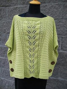 Ravelry: Summer Leaf Poncho-Muster von Michele C Meadows - special knitting and crochet patterns Poncho Knitting Patterns, Crochet Poncho, Knitted Shawls, Knitting Stitches, Knit Patterns, Hand Knitting, Crochet Vests, Crochet Edgings, Blanket Patterns