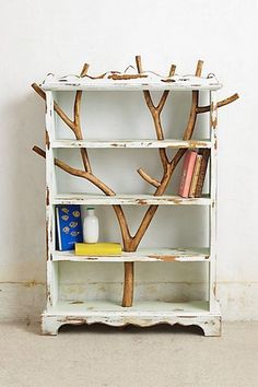 Wild Branch Bookcase - This would be incredible in a nursery - possible hack from a goodwill bookshelf - or even Ikea - would need to cut/wood glue pieces in bookshelf Painted Furniture, Home Furniture, Cool Bookshelves, Tree Bookcase, Bookshelf Ideas, Eclectic Bookcases, Tree Shelf, Kids Bookcase, Deco Nature